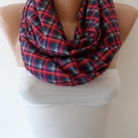 Plaid Infinity Scarf - Eternity Scarf - Loop - Cowl
