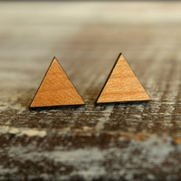 Triangle Studs, Laser Cut Wood Earrings