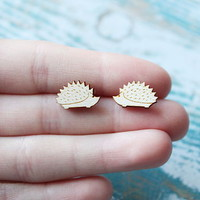 Wooden Hedgehog Earrings