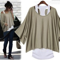 L 071304 Fashion, bat sleeve, loose big yards T-shirt