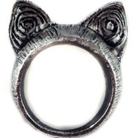 Amazon.com: Unique Retro Style Cute Cat Ears Ring - Color: Nickel - Size 7: Kitchen & Dining