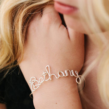 CUSTOM Name Bangle  4 Colors to Choose From by wirewrap on Etsy