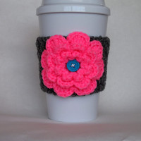 Crochet Flower Coffee Cup Cozy Hot Pink and Gray