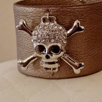 Skull Bracelet. Leather Cuff Skull Bracelet With Crystal Accents.