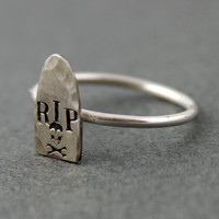 Headstone Ring  Grave Stone Stacking Ring in by SpiffingJewelry