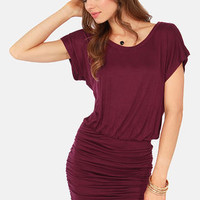 Ruches with Fame Burgundy Dress
