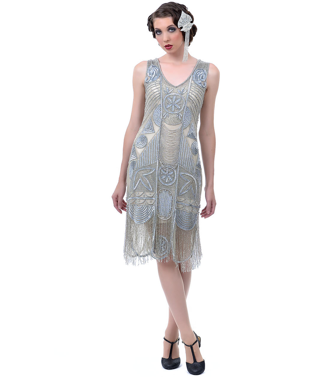 1920s The Bosley Silver Beaded Flapper from Unique Vintage