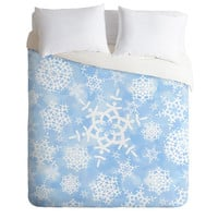 DENY Designs Home Accessories | Lisa Argyropoulos Snow Flurries in Blue Duvet Cover