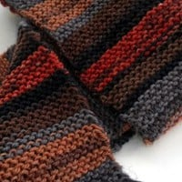 Orange Brown Gold Striped Scarf