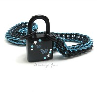 Black and Aqua Chainmail Choker Collar with Blue Butterfly Padlock