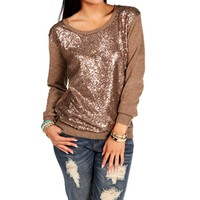 Mocha Sequin Sweater