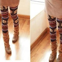 RETRO FLOWER FASHION TOTEM LEGGINGS