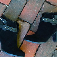 Black Suede Studded Booties