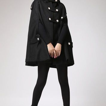 Cape winter hoodie coat in black  women cape  (698)