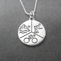 SWIM BIKE RUN Round Sterling Silver Triathlon Necklace - Choose 16, 18 or 20 inch Sterling Silver Ball Chain - Triathlon Necklace - Tri
