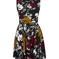 Mela Black and Red Bold Floral Print Skater Dress