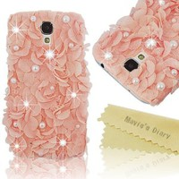 Mavis's Diary Luxury 3D Handmade Pink Elegant Silk Pearl Case Pink Cover for Samsung Galaxy S4 Gt-i9500 9505 M919 with Soft Clean Cloth