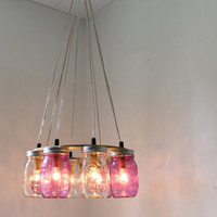 PURPLE Passion MASON Jar Chandelier - Upcycled Hanging Mason Jar Lighting Fixture Direct Hardwire - BootsNGus Lamps Rustic Home Decor