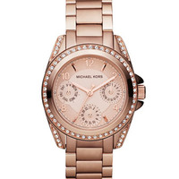 Michael Kors Mini-Size Blair Multi-Function Glitz Watch, Rose Golden
