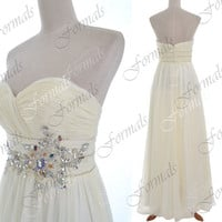 Strapless Sweetheart with Crystal and Beaded Long Ivory Chiffon Prom Dresses, Ivory Evening Gown, Wedding party Dresses, Long Formal Gown