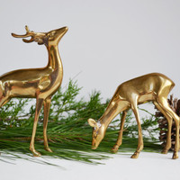 Vintage Brass Deer Figurines Reindeer Woodland Animal Figurines Pair of Brass Deer Statues Christmas Decorations Winter Home Decor