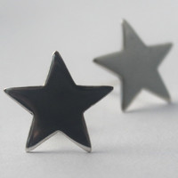 Sterling silver Star Earrings, Handmade 925 Studs, Sweet Statement Novelty Earring. Great Christmas stocking gift  and New Year's Eve bling