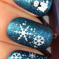 Adored - Nail Art Tatoo/Wrap WATER TRANSFERS STICKERS CHRISTMAS SNOWMAN & SNOWFLAKES
