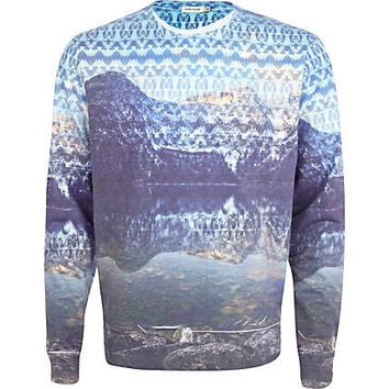 River Island MensBlue lake scene sublimation print sweatshirt