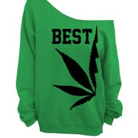 Best Buds - Green Slouchy Oversized CREW - BEST