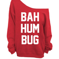 Ugly Christmas Sweater - Bah Hum Bug - Red Slouchy Oversized CREW