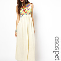 ASOS PETITE Exclusive Maxi Dress With Embroidered Aztec Detail