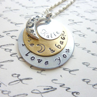 I love you to the moon and back Necklace Mommy necklace layered Personalized jewelry