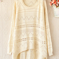 Loose Round Neck Long-Sleeved Sweater Hollow A 081903