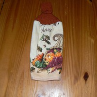 Blessed House Cornucopia Hanging Dish Towel With Hand Knit Topper