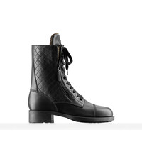 Calfskin and tweed high boots with... - CHANEL