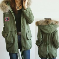COLLARS AFFIXED CLOTH COTTON-PADDED CLOTHES LONG COTTON-PADDED JACKET HOODED JACKET