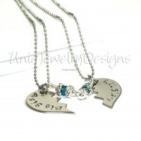 Sister Split Heart Necklace Set  - UniqJewelryDesigns