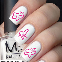 Pink heart and  fox racing  Nail Decals browning
