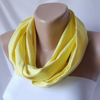 Infinity Scarf loop circle handmade from lemon yellow by Periay