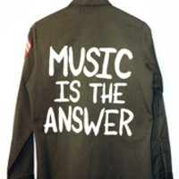 MUSIC IS THE ANSWER Vintage Army Jacket/Shirt