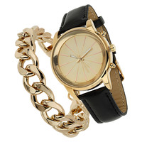 Watch and Curb Chain Bracelet - Miss Selfridge