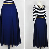 sheer indigo navy chiffon full sweep high waist preppy nautical midi skirt vintage 1980s