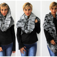 NEW Gray Knittted Fabric Scarf Infinity Scarf Loop Scarf Circle Scarf