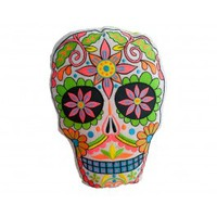 Lime Sugar Skull Pillow