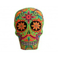 Green Neon Skull Pillow