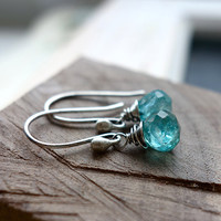 Turquoise Aqua Earrings Apatite Gemstone Jewelry Ocean Drop Earrings