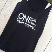 Black Flowy Cotton Tank. SMALL. One Life One by LivingProofGear