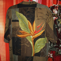Amazing Vintage Hawaiian Shirt TOMMY BAHAMA  Tropical Flowers  Relax Camp 100% Silk Size XL  Very Collectible