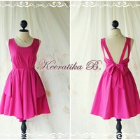 A Party - V Shape Dress - Cocktail Dress Wedding Bridesmaid Dress Party Prom Dress Backless Dress Homecoming Magenta Pink Dress