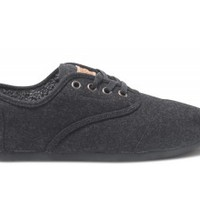 Black Wool Women's Cordones